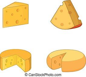 állhatatos, sajt, mód, karikatúra, ikon