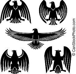 állhatatos, sas, címertani, vagy, fekete, sólyom, héja, jelkép