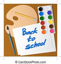 állhatatos, school., drawing., paper., paletta, hát, vízfestmény, vektor, festék, ecset, eszközök, ceruza