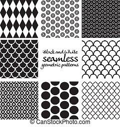 állhatatos, seamless, példa, fekete, 5, fehér, geometriai
