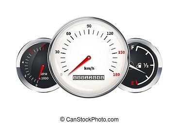 állhatatos, sebességmérő, elements., autó, egyszintű, figyelmeztetők, műszerfal, fordulatszámmérő, fűtőanyag, fehér