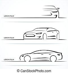 állhatatos, silhouettes., ábra, vektor, luxury autó
