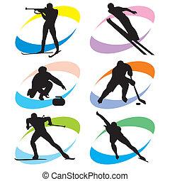 állhatatos, sport, tél, ikonok