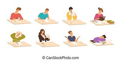 állhatatos, style., gyermekek lány, fiatal, írás, felolvasás, lakás, színes, ülés, diákok, ábra, fiú, gyűjtés, teszt, karikatúra, iskola előjegyez, sleeping., vektor, asztal, exams., vagy, előkészítő