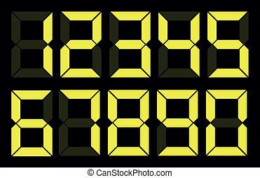 állhatatos, szám, sárga, digitális