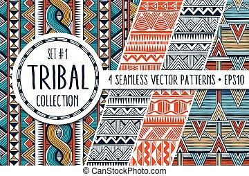 állhatatos, színes, collection., elvont, modern, seamless, backgrounds., példa, 4, etnikai