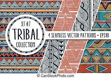 állhatatos, színes, collection., elvont, modern, seamless, példa, 4, etnikai, ornaments.