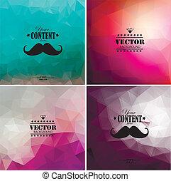 állhatatos, színes, elvont, négy, háttér, geometriai