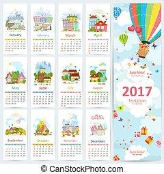 állhatatos, színes, köszönés, towns., 2017, naptár, kártya
