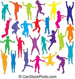 állhatatos, színezett, emberek, körvonal, ugrás, gyerekek