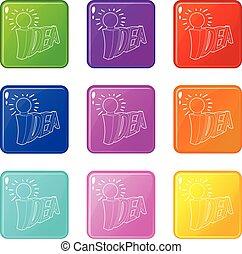 állhatatos, szó, ikonok, szín, fény, gondolat, gyűjtés, 9, gumó