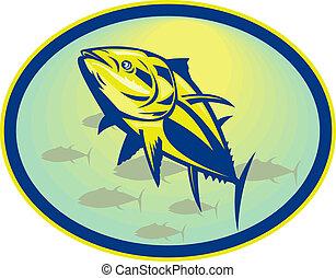 állhatatos, szög, belső, bluefin, alacsony, tonhal, megnézett, oval.
