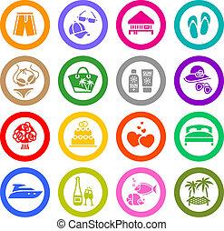 állhatatos, &, szünidő, ikonok, utazás, pihenés