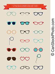 állhatatos, szüret, csípőre szabott, retro, szemüveg, ikon