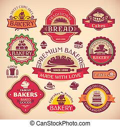 állhatatos, szüret, elnevezés, pékség, vektor, különféle