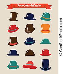 állhatatos, szüret, kalapok, csípőre szabott, retro, ikon