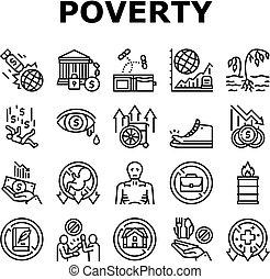 állhatatos, szegénység, nélkülözés, gyűjtés, ikonok, vektor