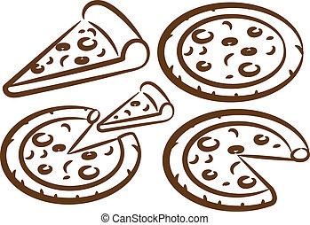 állhatatos, szelet, pizza