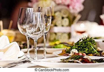 állhatatos, szemüveg, üres, étterem