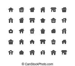 állhatatos, szilárd, háttér., otthon, fehér, ikon