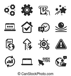 állhatatos, szolgáltatás, fogaskerék-áttétel, jelszó, symbols., technológia, laptop, vektor, ikonok, hasonló, atm