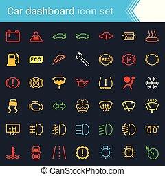 állhatatos, szolgáltatás, színes, autó, -, jelkép, határfelület, vektor, műszerfal, fenntartás, figyelmeztetők, ikon