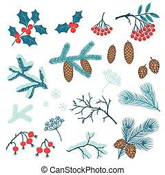 állhatatos, tél, stilizált, branches., vidám christmas