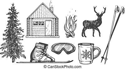 állhatatos, tél, természetjárás, ikonok, síelés, idegenforgalom