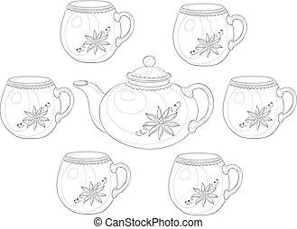 állhatatos, teáskanna, áru, 3, csészék, körvonal