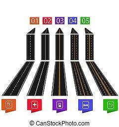 állhatatos, tető, sárga, háttér., infographics., mintázat, ábra, közútak, fehér, kilátás, kilátás