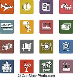 állhatatos, &, utazás icons, szünidő, pihenés