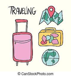 állhatatos, utazás, kéz, vektor, húzott, doodles