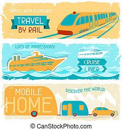 állhatatos, utazás, style., retro, horizontal lobogó