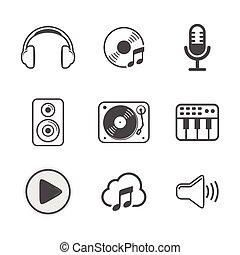 állhatatos, változat, tervezés, fehér, audio, ikon