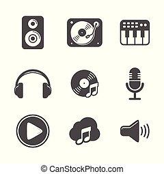 állhatatos, változat, tervezés, fekete, audio, ikon