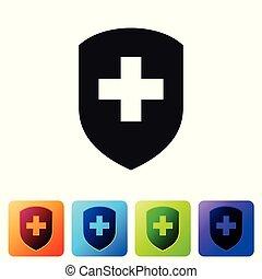állhatatos, védőlemez elpirul, kereszt, derékszögben, magánélet, concept., elszigetelt, háttér., egészség, biztonság, fehér, jelvény, buttons., ábra, oltalom, label., biztonság, ikon, orvosi, banner., vektor, icon., fekete