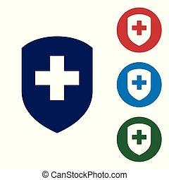 állhatatos, védőlemez elpirul, kereszt, kék, magánélet, concept., elszigetelt, háttér., egészség, biztonság, fehér, jelvény, buttons., biztonság, ábra, oltalom, label., karika, ikon, orvosi, banner., vektor, icon.