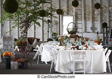 állhatatos, vagy, étkező, esküvő, asztal, egyesített, esemény