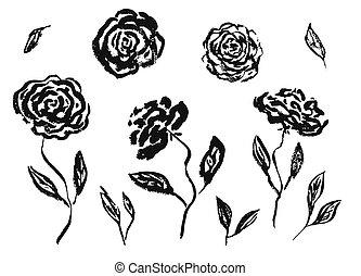 állhatatos, vagy, kéz, tinta, húzott, menstruáció, fekete, rózsa, babarózsa