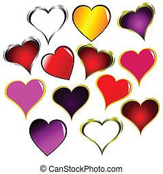 állhatatos, valentines, elszigetelt, vektor, piros, fehér