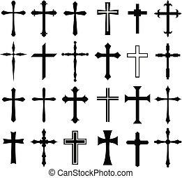 állhatatos, vallás, tervezés, kereszt, ikon