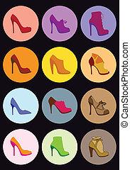 állhatatos, vektor, cipő