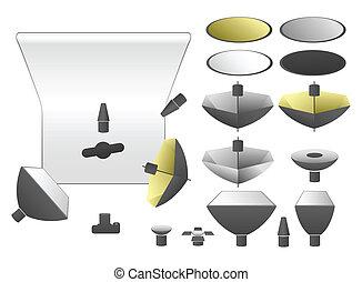 állhatatos, vektor, felszerelés, műterem