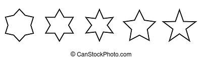 állhatatos, vektor, icons., csillag, stars., áttekintés