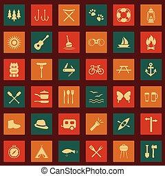 állhatatos, vektor, kempingezés, ikonok