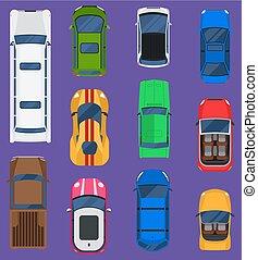 állhatatos, versenyzés, roof., motor, transport., különböző, furgon, taxi, autó, tető, elszigetelt, háttér., jármű, gördít, szállítás, autó, forgalom, autó, vektor, csereüzlet, út, kilátás