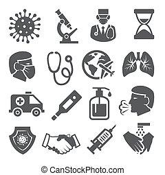 állhatatos, white háttér, ikonok, coronavirus