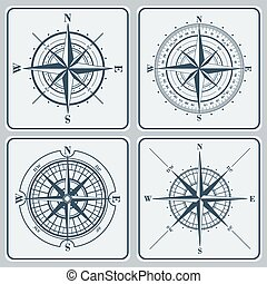állhatatos, (windroses), illustration., agancsrózsák, vektor, iránytű