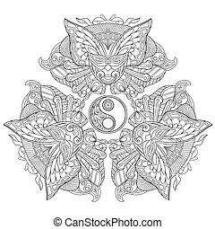 állhatatos, yin, jelkép., maszk, három, yang