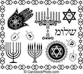 állhatatos, zsidó, jelkép, vektor, ünnep, vallásos